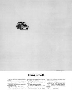 Креативная концепция от агентства Doyle Dane Bernbach, благодаря которой Фольксваген Жук стал самым продаваемым автомобилем 50-х годов ХХ века.